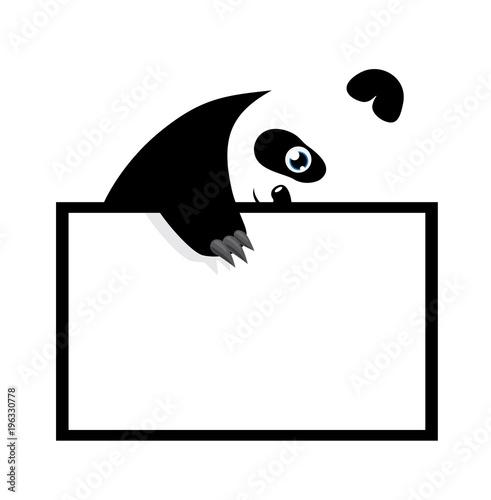 Funny Panda Bear Hanging On Paper Board Template Cute Cartoon Character Baby Card Flat Design Style