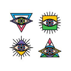 one eye sign symbol logo logotype collection