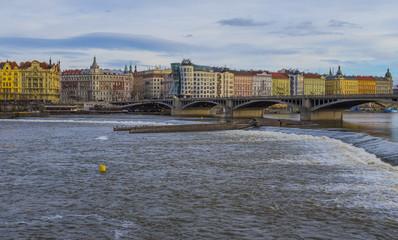 Prague, Vltava River and city architecture