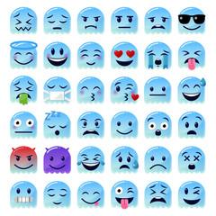Emoji Set - blauer Geist - 3D
