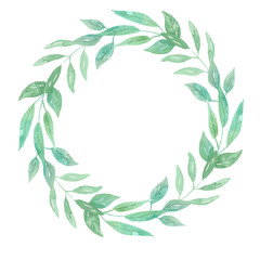 Watercolor Green Leaves Wreath Leaf Garland