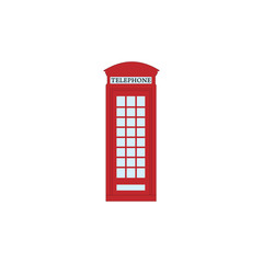 flat design english phone booth icon vector illustration
