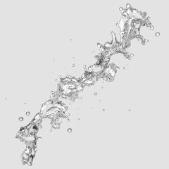 Water splash with water droplets isolated. 3D illustration