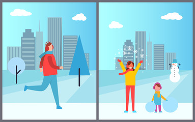 People Cityscape Collection Vector Illustration