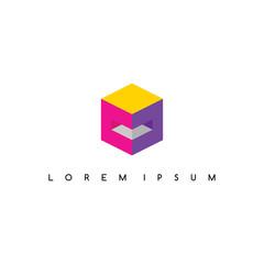isometric square box sign logo logotype vector art