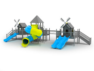 Modern playground for children black and white two blue slides and a yellow insert 3d rendering on a white background with a shadow