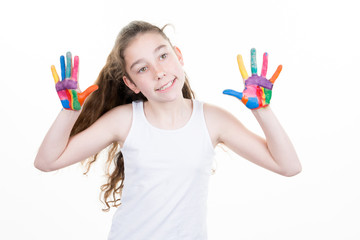 education, school, art and painitng concept little girl showing painted hands