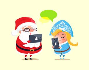 Santa, Snow Maiden and Gadgets Vector Illustration
