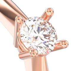 3D illustration isolated close up rose gold solitaire engagement diamond ring