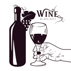 Realistic hand drawing, unopened wine bottle and hand holding a wineglass, sketch style vector illustration isolated. Can be used for some posters or cards.