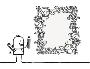 Cartoon Designer Drawing a Vintage Style Blank Frame