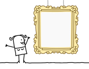 Cartoon Woman Watching a Blank Frame