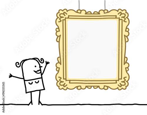 Cartoon Woman Watching a Blank Frame\