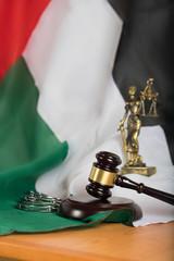 Judge's gavel on a flag of the United Arab Emirates.