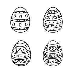 Hand drawn Easter eggs set in line style