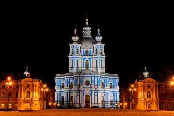 View of the Smolny Cathedral at nightin in Saint-Petersburg, Russia.