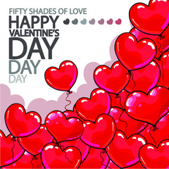 Vector happy Valentine's Day poster with many beautiful red balloons. Many red heart balloons isolated on white background.