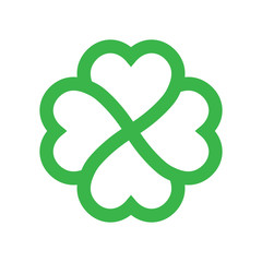 Shamrock silhouette - green outline four leaf clover icon. Good luck theme design element. Simple geometrical shape vector illustration.