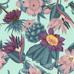 Тропики. Экзотические цветы. Векторный бесшовный фон в стиле винтаж. Цветочный орнамент.