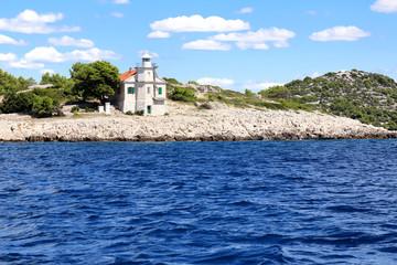 Prisnjak Lighthouse in Mediterranean sea, Dalmatia, Croatia