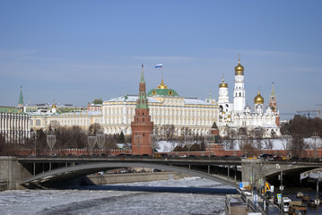Moscow Kremlin. Color winter photo.