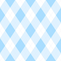 Light blue argyle seamless pattern background.Diamond shapes with dashed lines. Simple flat vector illustration.