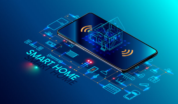 Smart home controlled smartphone. Internet of things technology of home automation system. Small house standing on screen mobile phone and wireless connections with icons home electronics devices. iot