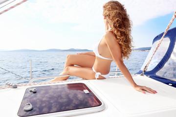 Attractive woman sailing in Croatia