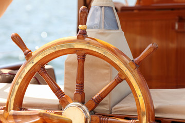 The helm at old sailing boat moored in Mediterranean sea, Croatia