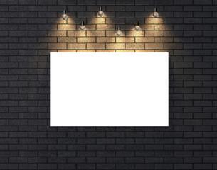 Illuminated empty frame mock up on dark brick wall. 3D illustrating.