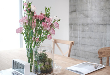 flower in room on the windowsill Beautiful flowers modern interior room