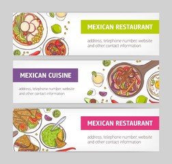 Bundle of horizontal web banners with national meals of Mexican cuisine and place for text on white background. Bright colored vector illustration for restaurant or food delivery advertising.
