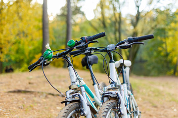 Photo of two bicycles on blurred background of autumn park