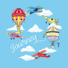 Background with Airplanes and Hot Air Balloons
