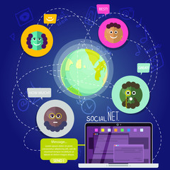 Vector group of social networking people in different place of the world. Designed in cartoon style.