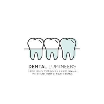 Isolated Vector Style Illustration Logo Badge or Dental Tooth Veneer and Lumineer Installation Process, Aesthetics, Orthodontist, Modern Web Element