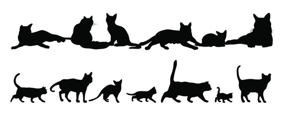 Set of silhouettes of the cats vector illustrations - Black cats - Isolated on white background 黒猫のベクター素材