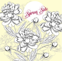 Spring sale background with flowers