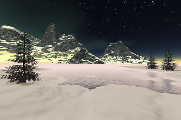 Winter, a night landscape, snow on the ground and in the mountains, coniferous trees next to the lake and stars in the  sky.