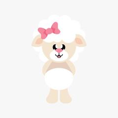 cartoon cute sheep girl with bow