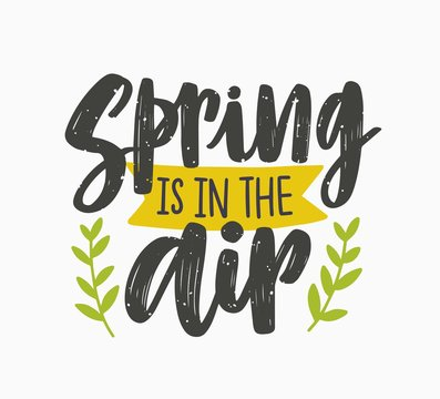 Spring Is In The Air inspiring phrase written with artistic cursive font or script and decorated with green leaves or branches. Seasonal lettering isolated on white background. Vector illustration.