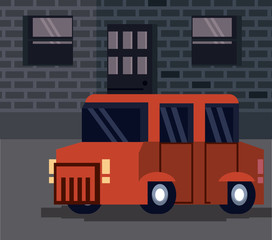 Pixelated truck on city at night vector illustration graphic design