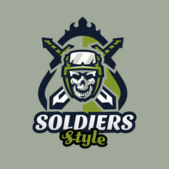 Emblem, badge, logotype military skull, helmet with tactical goggles and swords. Soldier, weapon, warrior, shield, lettering. Vector illustration