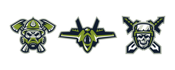 Set of logos on military themes. A skull in a gas mask and axes, a skull in a helmet with tactical goggles and swords, an airplane fighter. Vector illustration