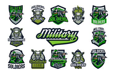 A collection of emblems, badges on a military theme. A skull in a helmet against the background of swords, tactical glasses, a soldier shooting from an assault rifle, camouflage. Vector illustration