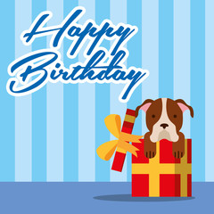 happy birthday card cute doggy on gift box vector illustration