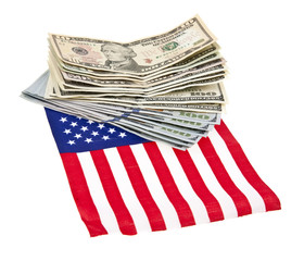dollars and US flag isolated on white background