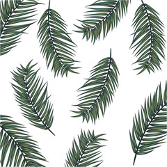 Summer vector banner with palm leaves. It is summer time