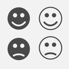 emoji smiley and sad faces vector icon