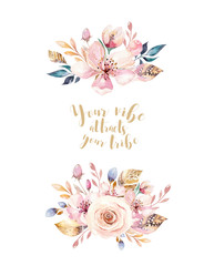 Vintage watercolor wreath elements of flowers poster, garden and wild flowers with birds flowers, illustration isolated, bird and feathers, bohenian floral decoratoin design
